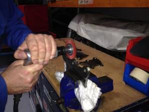 Sea Fury engine blocks, cleaning